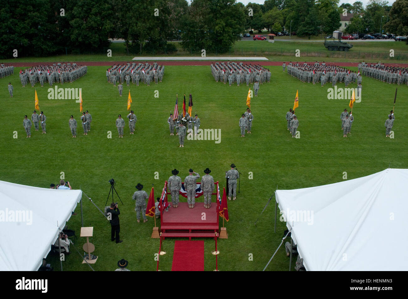 The 2d Cavalry Regiment conducted a change of responsibility, change of command and activated the Regimental Engineer - Stock Image