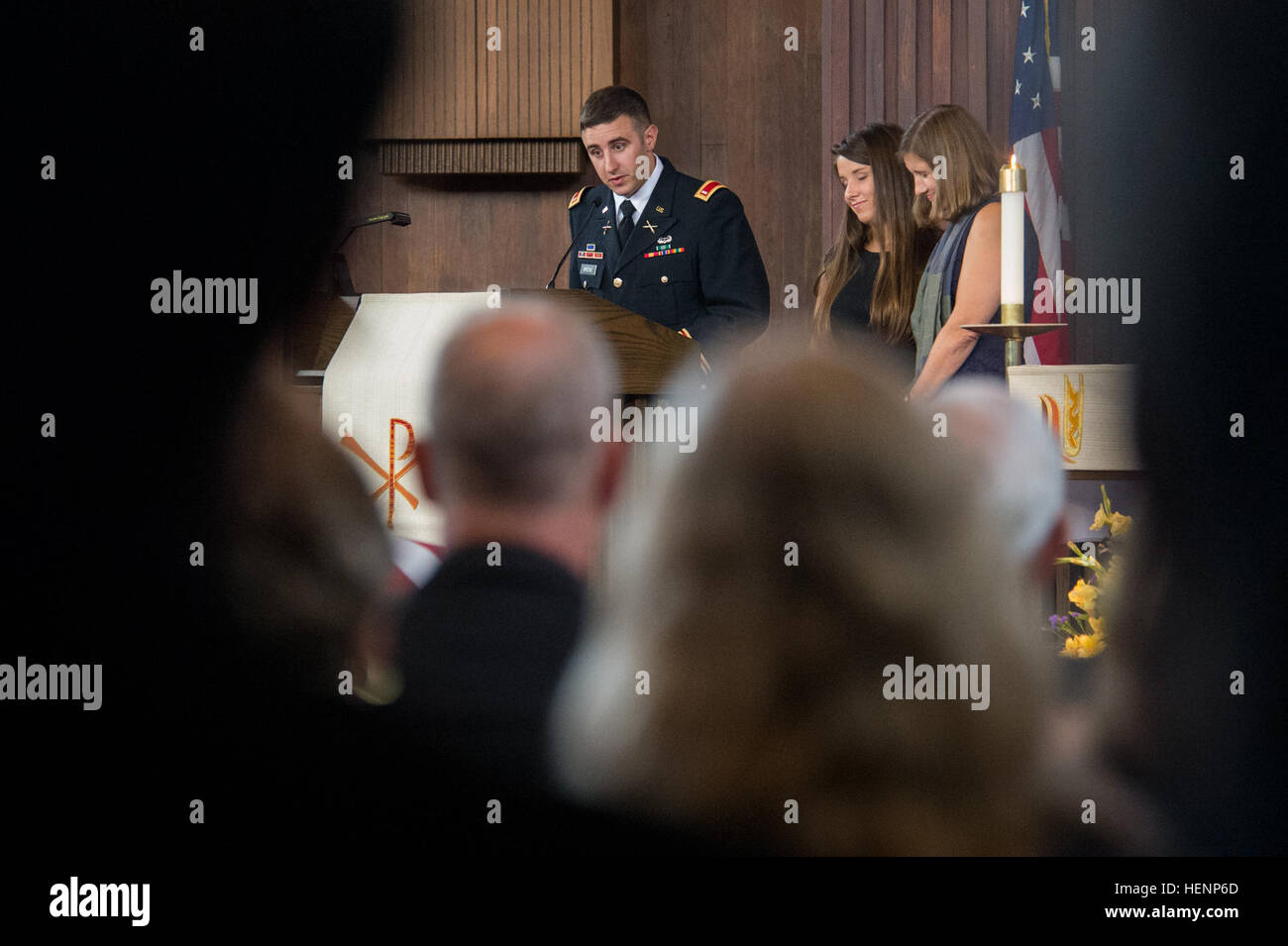 U.S. Army 1st Lt. Matthew Greene delivers a eulogy for his father, U.S. Army Maj. Gen. Harold J. Greene, during - Stock Image
