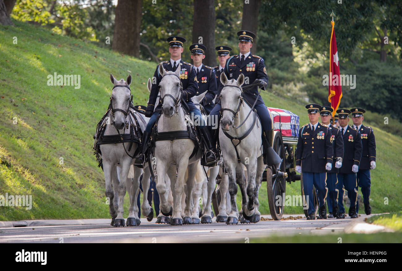The funeral procession of U.S. Army Maj. Gen. Harold J. Greene processes through Arlington National Cemetery during - Stock Image