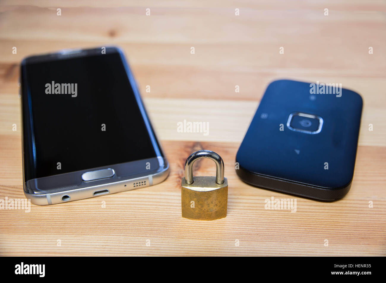 phone and pocket wifi  secure, private, confidential connection for internet use - Stock Image