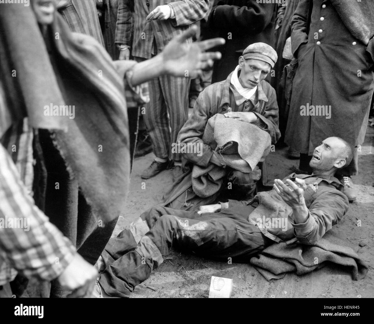 At the German concentration camp at Wobbelin, many inmates were found by the U.S. Ninth Army in pitiful condition. - Stock Image