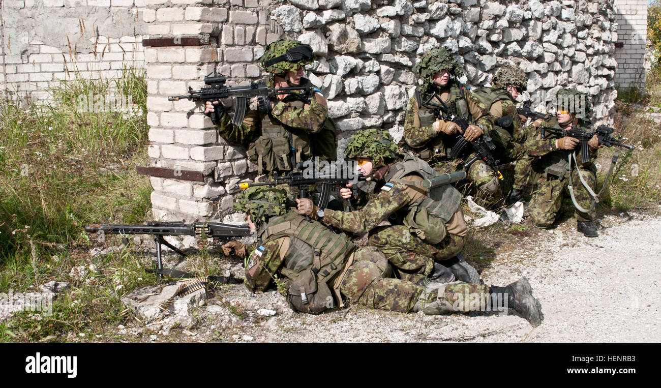 Estonian Defense Forces soldiers from Company C, Single Scouts Infantry Battalion lay down covering fire as they Stock Photo