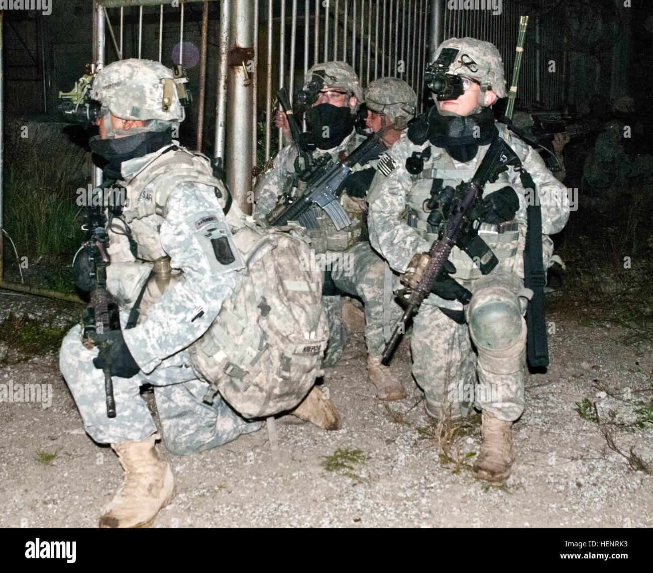 Army Sgt. 1st Class Bryon O. Krepcho (left), a Dallas, Texas, native serving as a platoon sergeant in Company B, Stock Photo