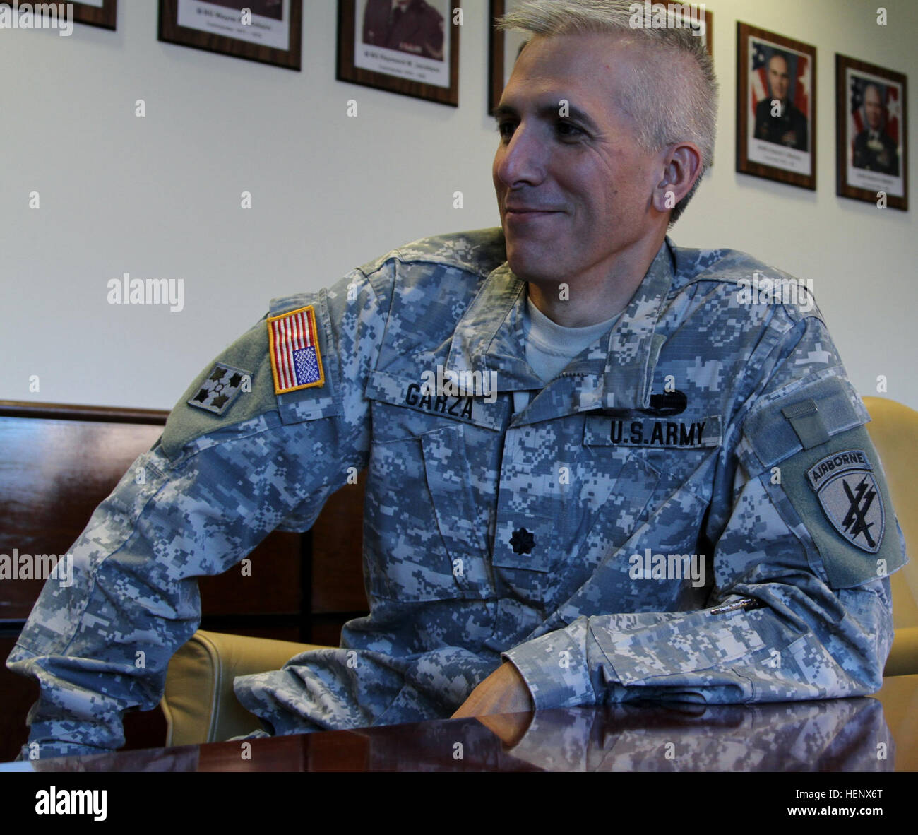 Dr. Alexander Garza reviews the successful Ebola briefs given to officers of the 352nd Civil Affairs Command.  The - Stock Image