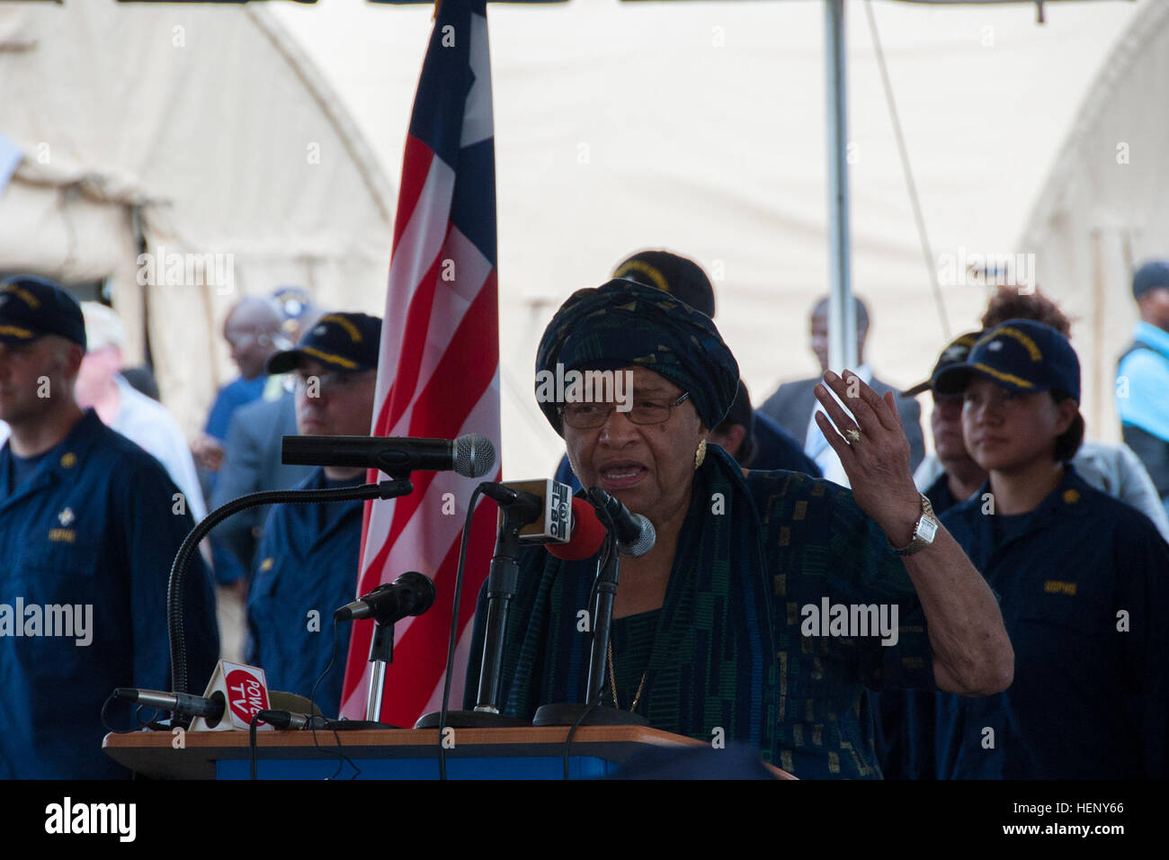 Ellen Johnson Sirleaf, the president of Liberia, speaks at the opening ceremony of the Monrovia Medical Unit Nov. - Stock Image