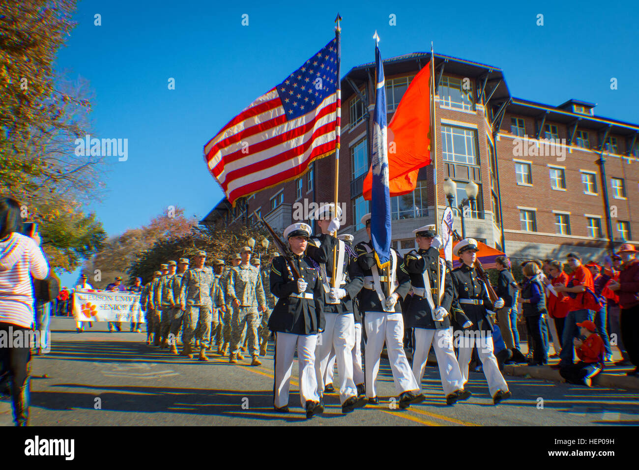 Clemson University Reserve Officers' Training Corps' elite drill unit, the Pershing Rifles, leads the Military - Stock Image