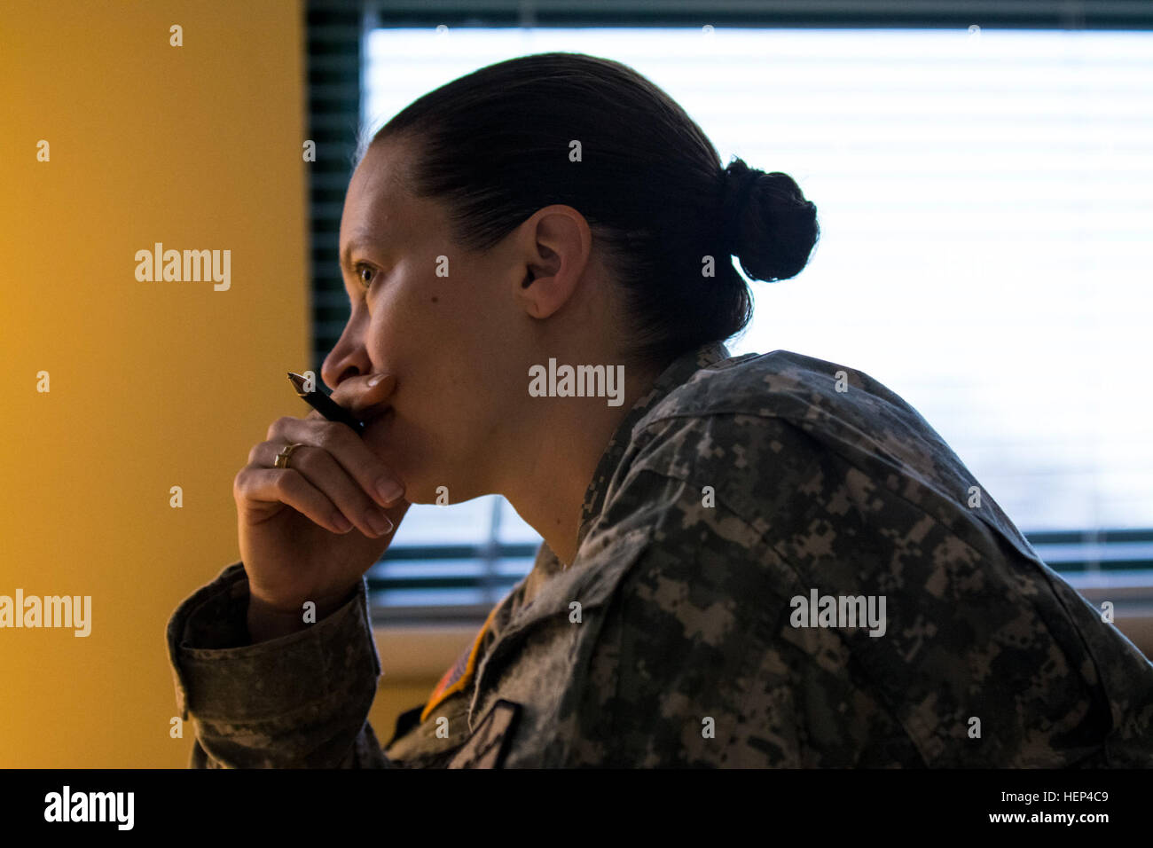 First Sgt. Raquel Steckman is the first woman in the Army appointed to a combat engineer company as a first sergeant, Stock Photo