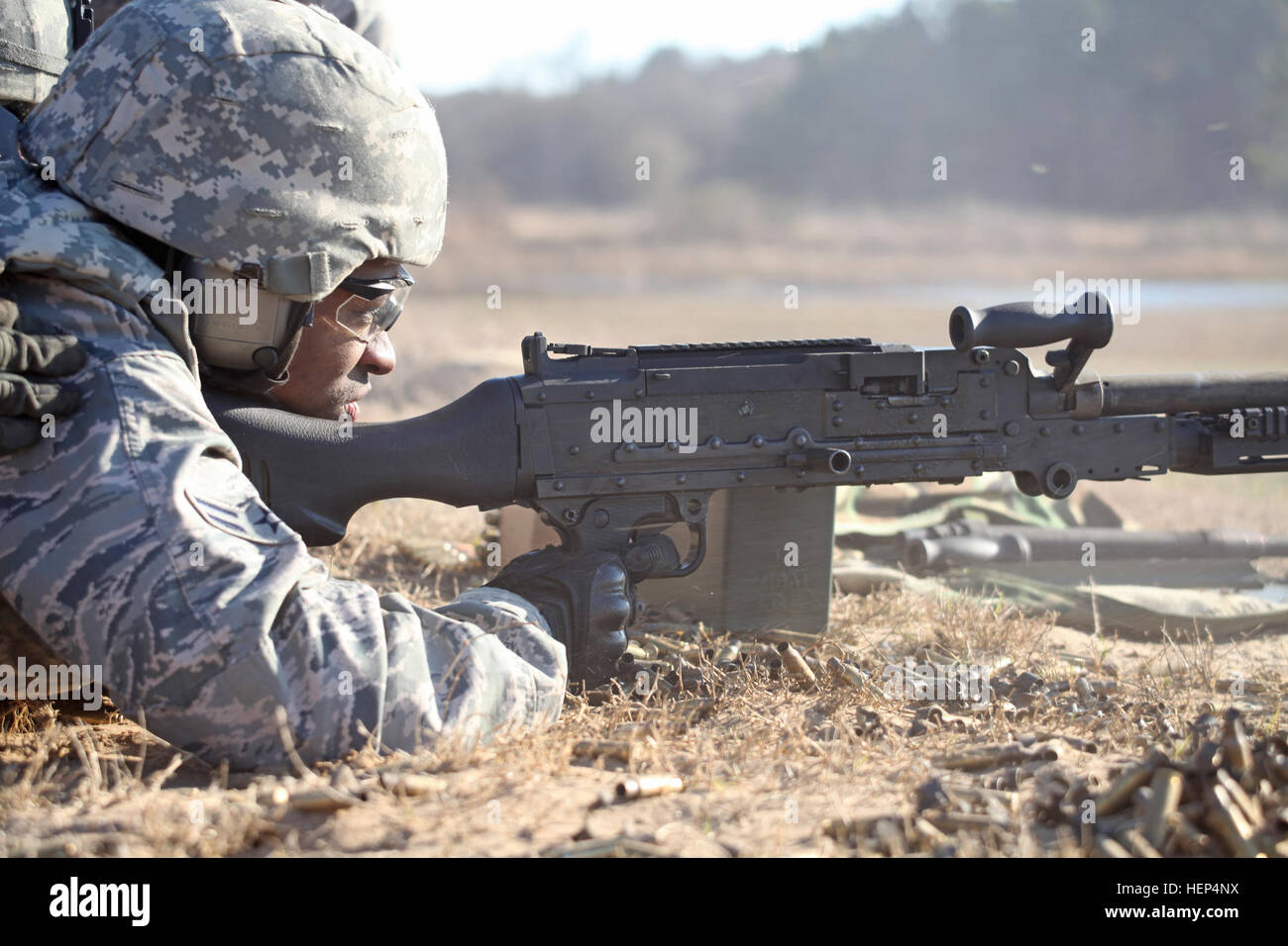 The Air National Guard's 113th Security Forces Wing, D.C. Air National Guard, Joint Base Andrews Air Force Base, Camp Springs, Md., conducted training with M-240B and M-203 weapon systems at Townsend Bombing Range, Townsend, Ga., Feb. 12, 2015. (U.S. Army photo by Spc. Tracy McKithern/Released) Sentry Savannah 2015 150212-A-LC197-0570 Stock Photo
