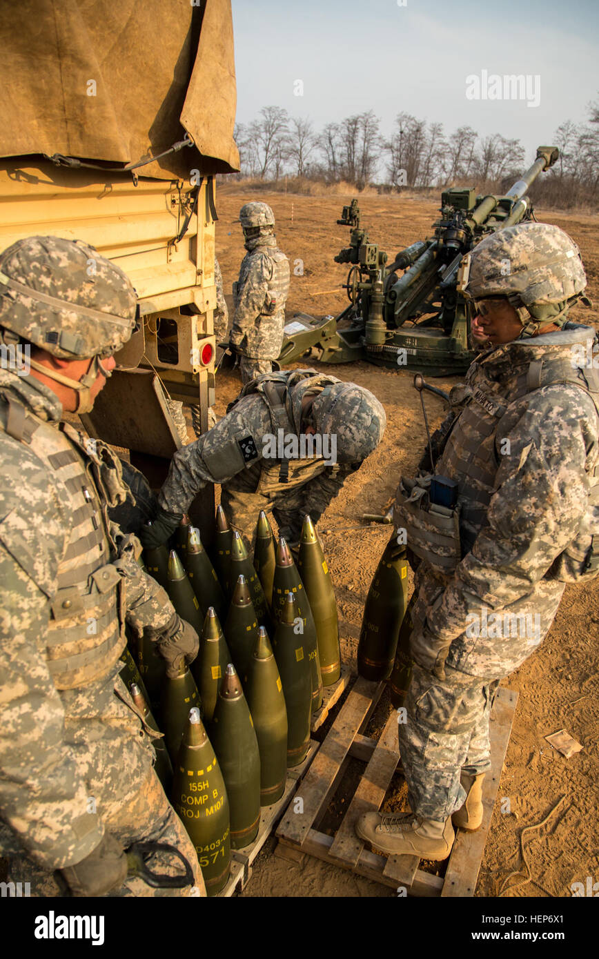 U.S. Army Soldiers assigned to 2-11 Field Artillery Regiment, 2nd Stryker Brigade Combat Team, 25th Infantry Division, Stock Photo
