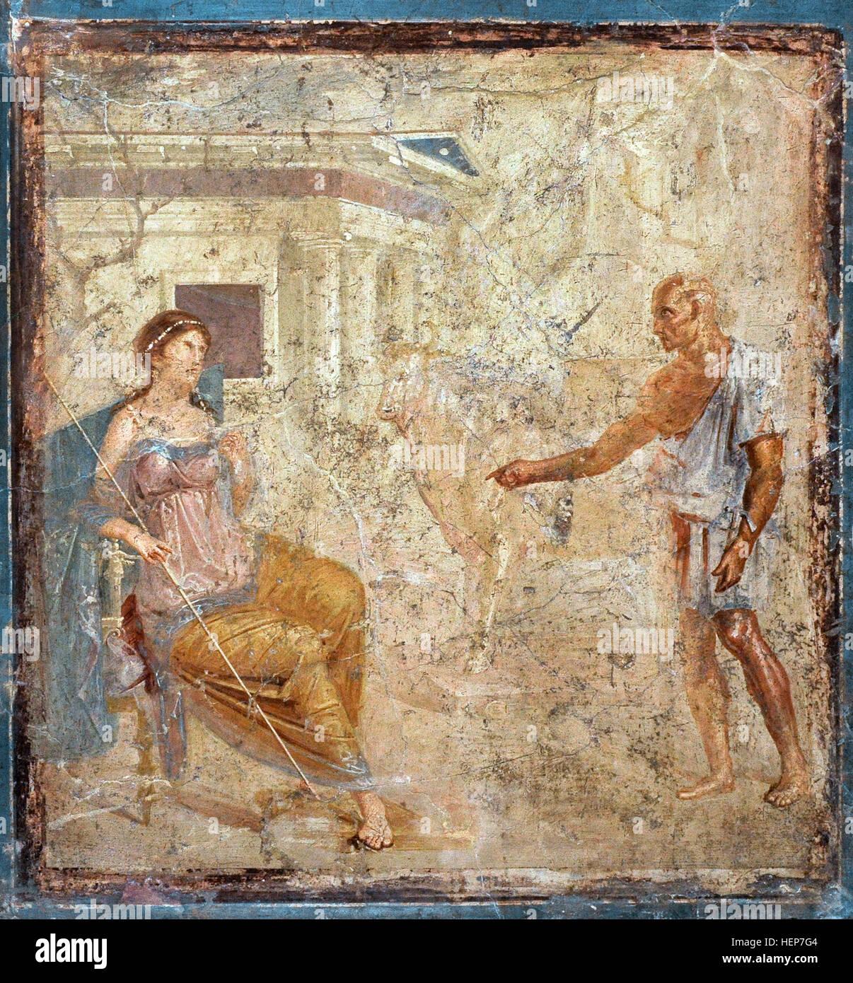 Daedalus present the artificial cow to Pasiphae. Roman fresco.1st century AD. Casa della Caccia Antica, VII, 4, - Stock Image