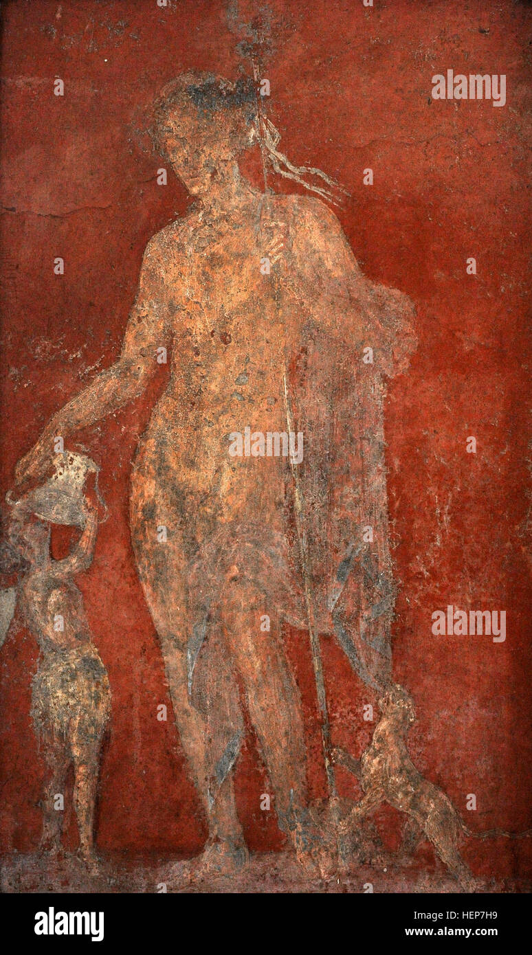 A young Dionysus, accompanied by the panther sacred to him, holds a cantharus that he lowers to a Satyr who drinks - Stock Image