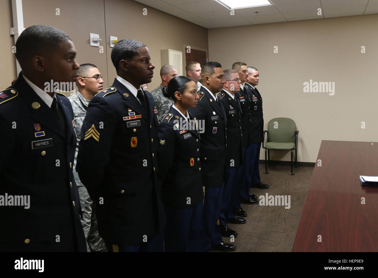 Soldiers with 69th Air Defense Artillery Brigade stand before members of an interview board April 3 on Fort Hood, - Stock Image