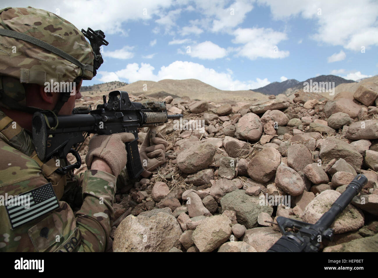U.S. Army Spc. Sean P. Bedard an infantryman and Counter Insurgency team leader, with Task Force White Currahee, Stock Photo