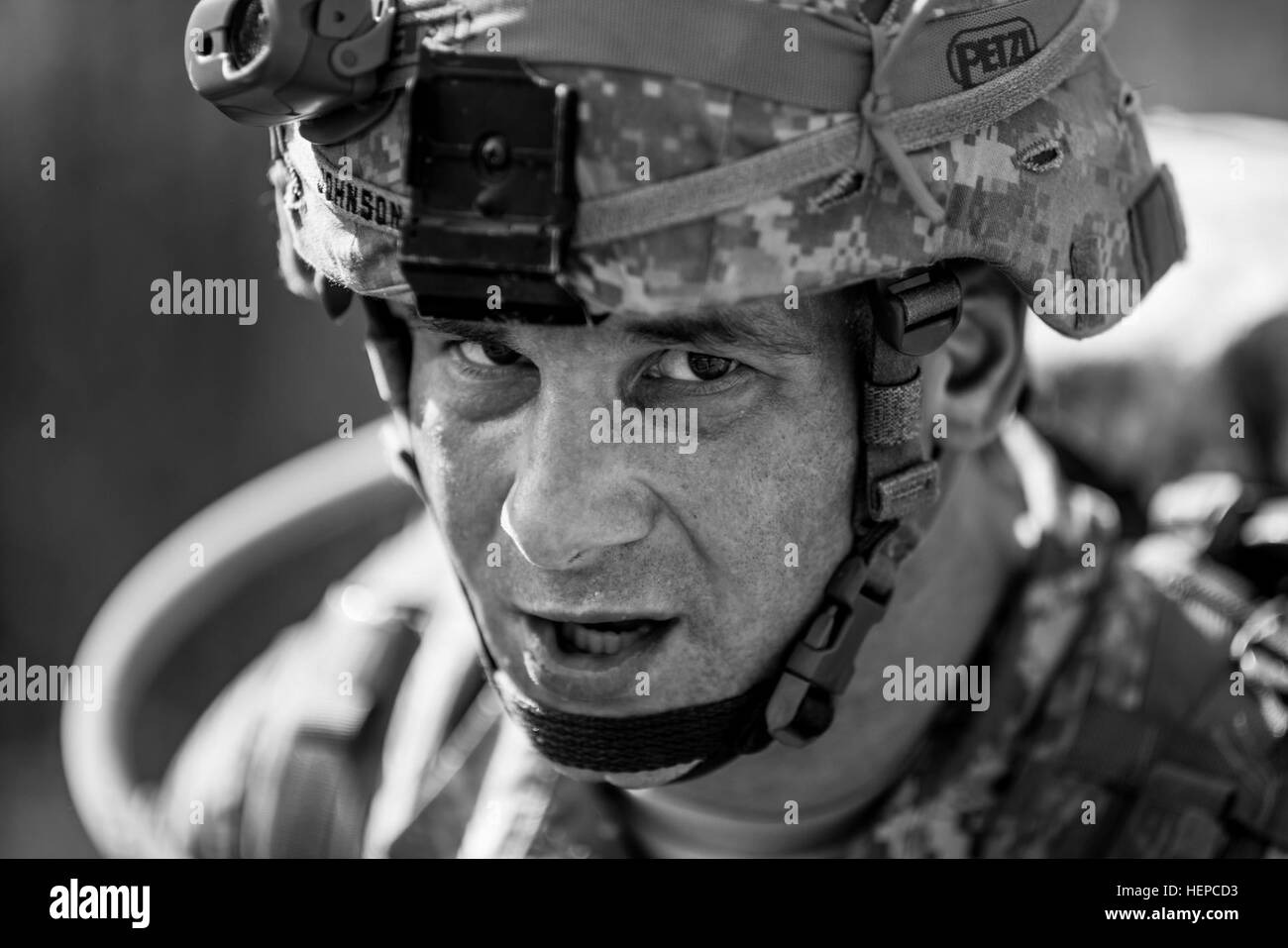 Sgt. 1st Class Keith Johnson, from Manchaster, N.H., with the 1st Battalion, Army Reserve Careers Division, stands - Stock Image
