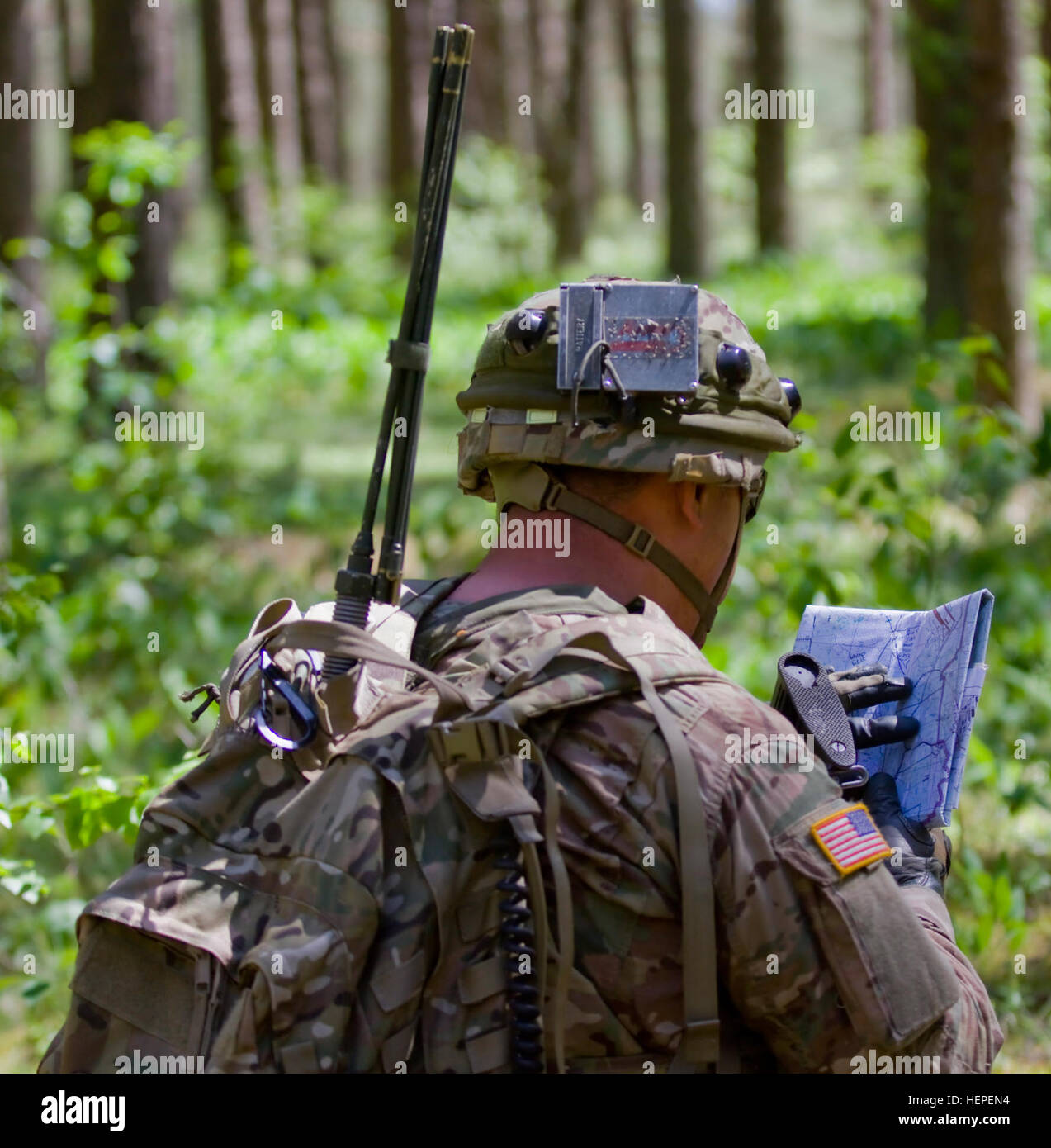 United States Army Pfc. Connor Walcher, native of Bixby, Okla. and forward observer assigned to Team Eagle, Task Stock Photo