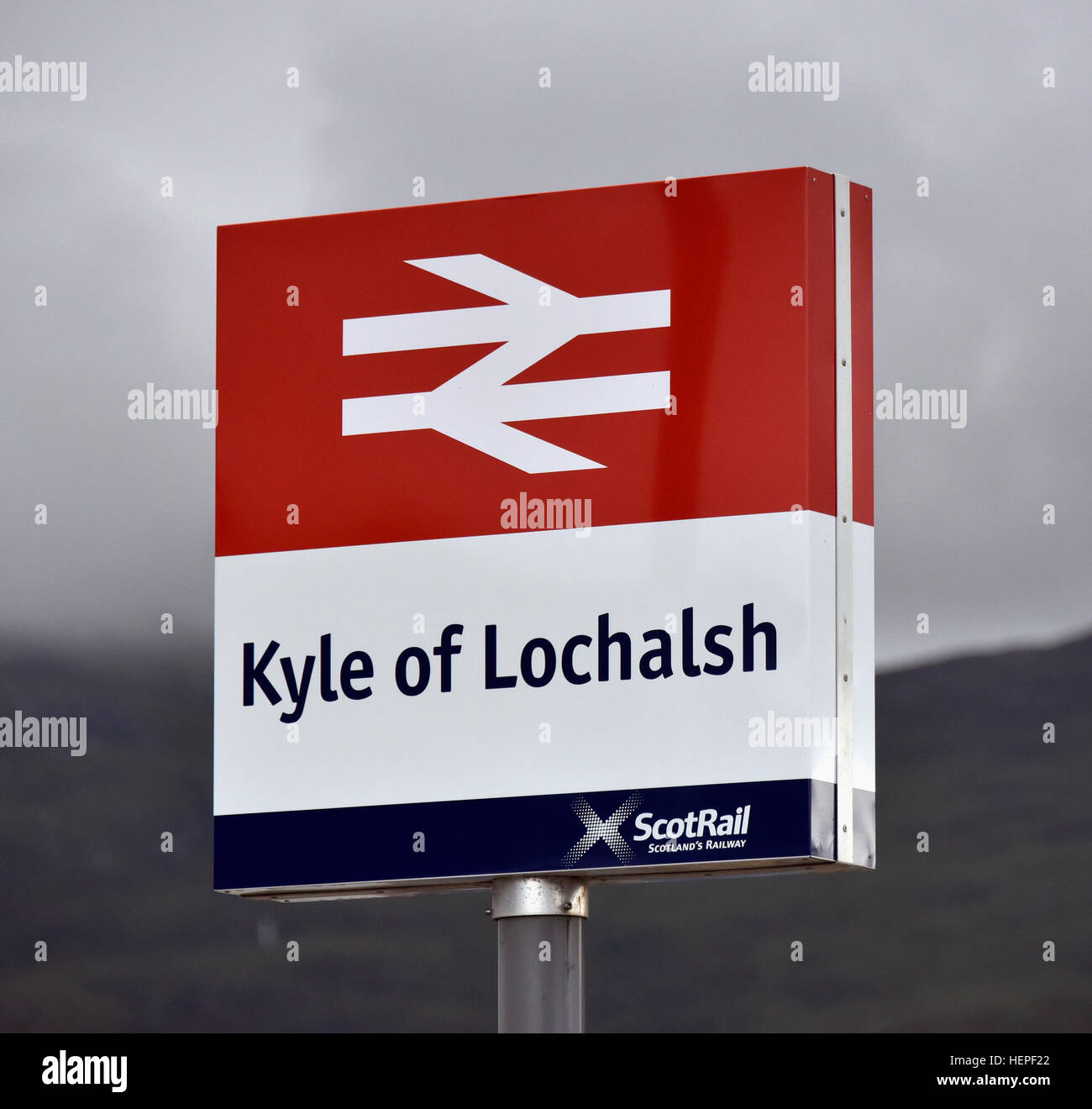 Kyle of Lochalsh Scotrail station sign. - Stock Image