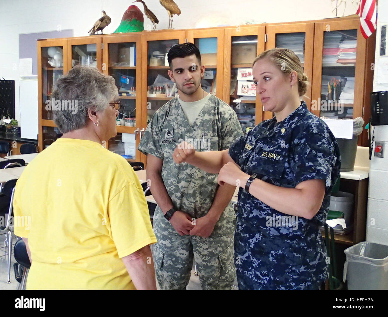 Lt  Katelyn Howenstine,right, a physical therapist from Naval Stock