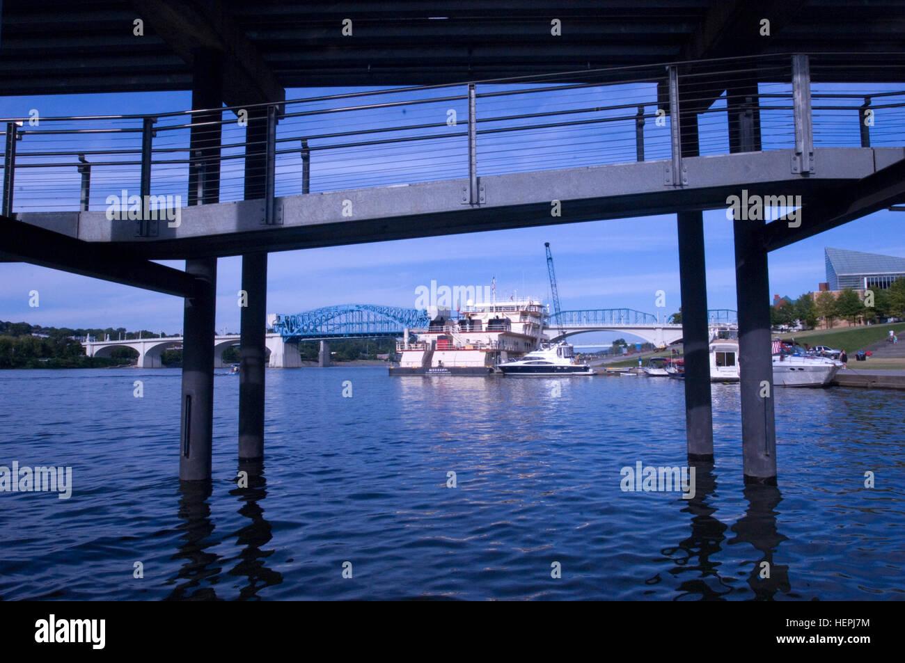 The Motor Vessel Mississippi is docked at Ross's Landing in Chattanooga, Tenn., Aug. 8, 2015. The M/V Mississippi - Stock Image