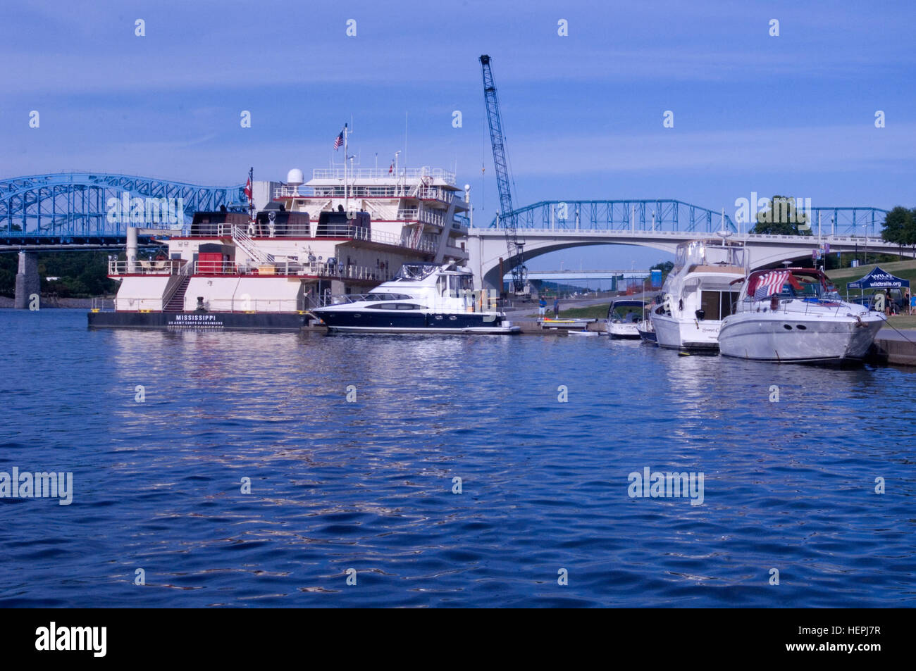 The Motor Vessel Mississippi is docked at Ross's Landing in Chattanooga, Tenn., Aug. 8, 2015. The M/V Mississippi Stock Photo