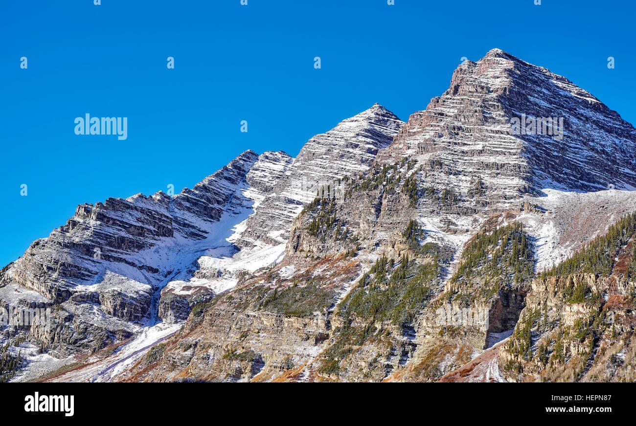 Maroon Bells mountain range, Aspen in Colorado, USA. - Stock Image