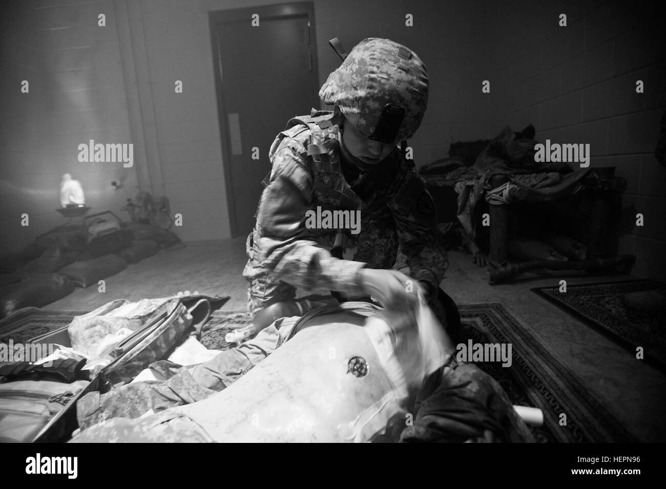 Combat Medic Pfc. Elise McNabb, of Hobart, Ind., part of the Indiana National Guard 738th Area Support Medical Company, - Stock Image