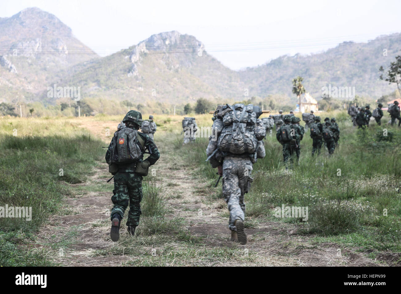 US Army Soldiers Assigned To Alpha Company 2nd Battalion 3rd Infantry Regiment And Royal Thai Rifle