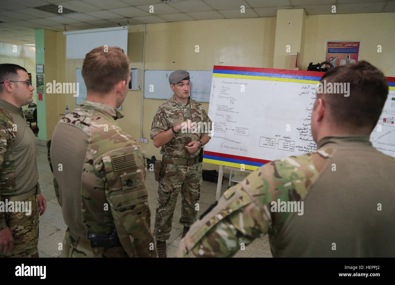 A British captain, assigned to the Queen Alexander's Royal Army Nursing Corps, discusses the curriculum of the Iraqi - Stock Image