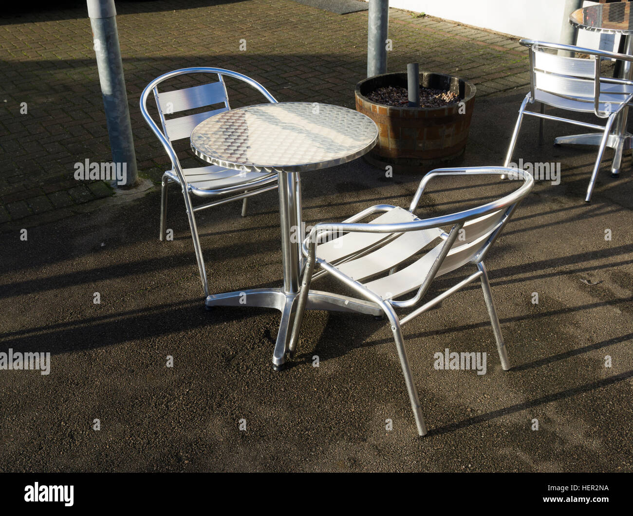 Stainless Metal Café Table And Chairs Outside Coffee Shop Milton Cambridge  Cambridgeshire England 2016   Stock