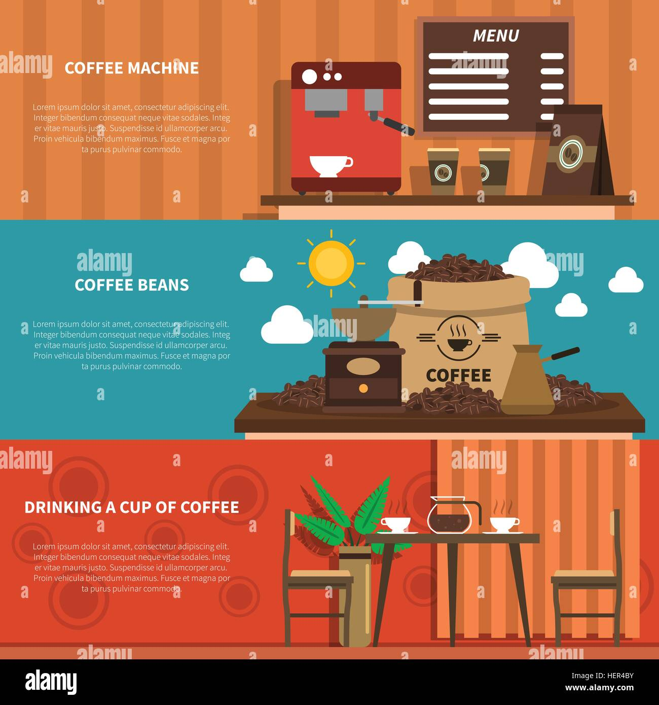 Coffee Bar 2 Flat Horizontal Banners . Cafe bar with coffee machine and decorative sacks with beans 2 flat horizontal - Stock Vector