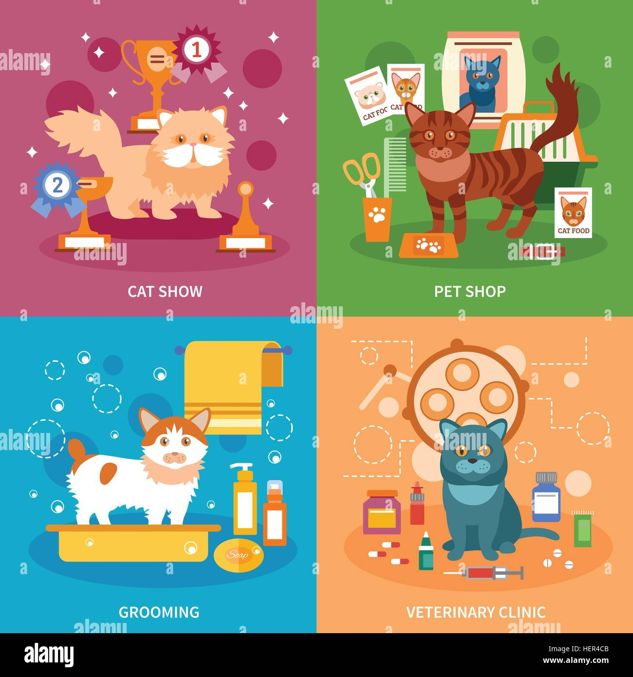 Cats concept set. Cats design concept set with pet grooming and veterinary clinic flat icons isolated vector illustration - Stock Vector