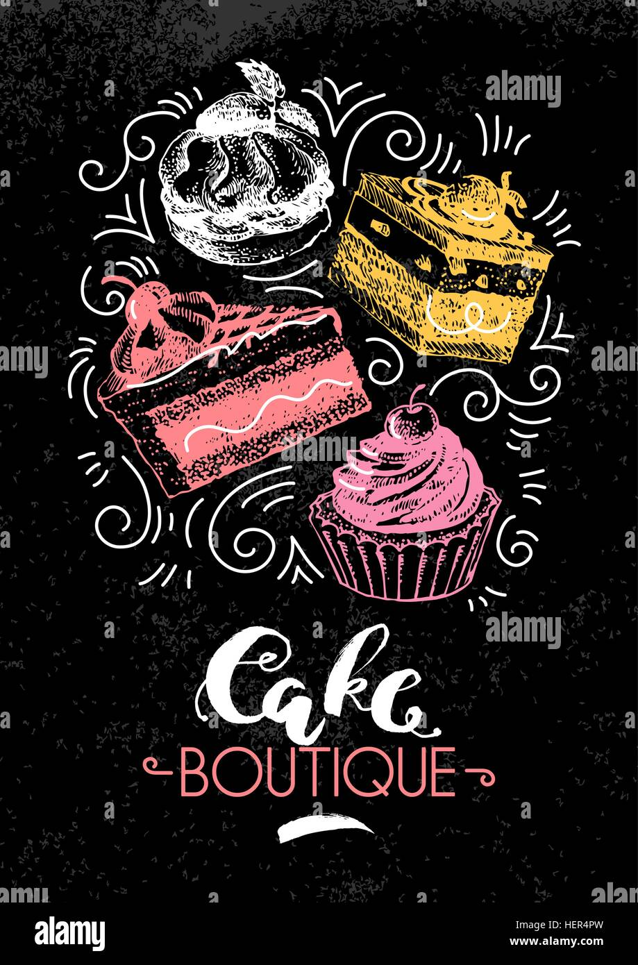 Sweet cakes pastry hand drawn vintage poster. Sketch and ...