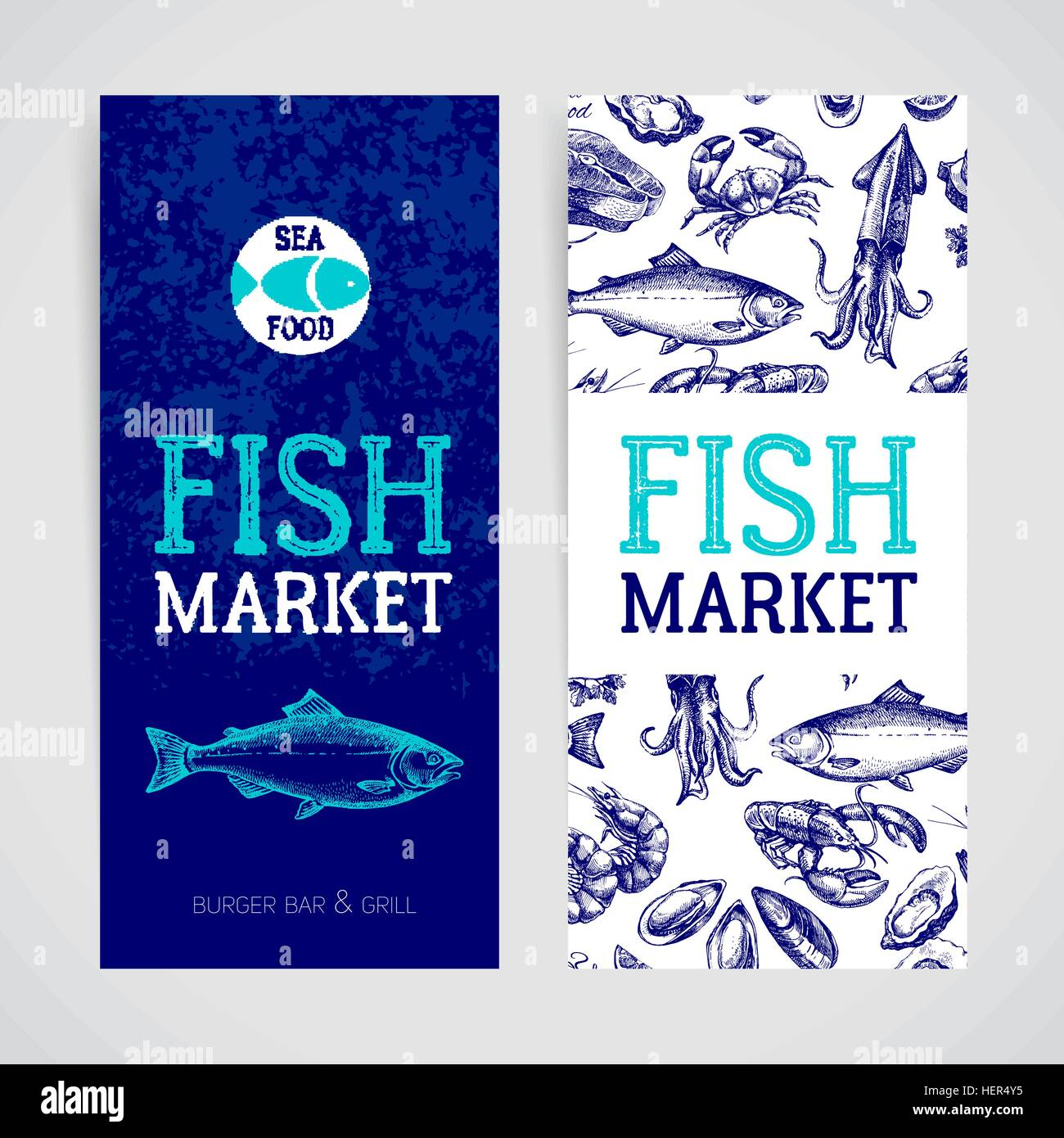 Restaurant Fresh Sea Food Menu Banners Set Fish Market Pa Kage And Stock Vector Image Art Alamy