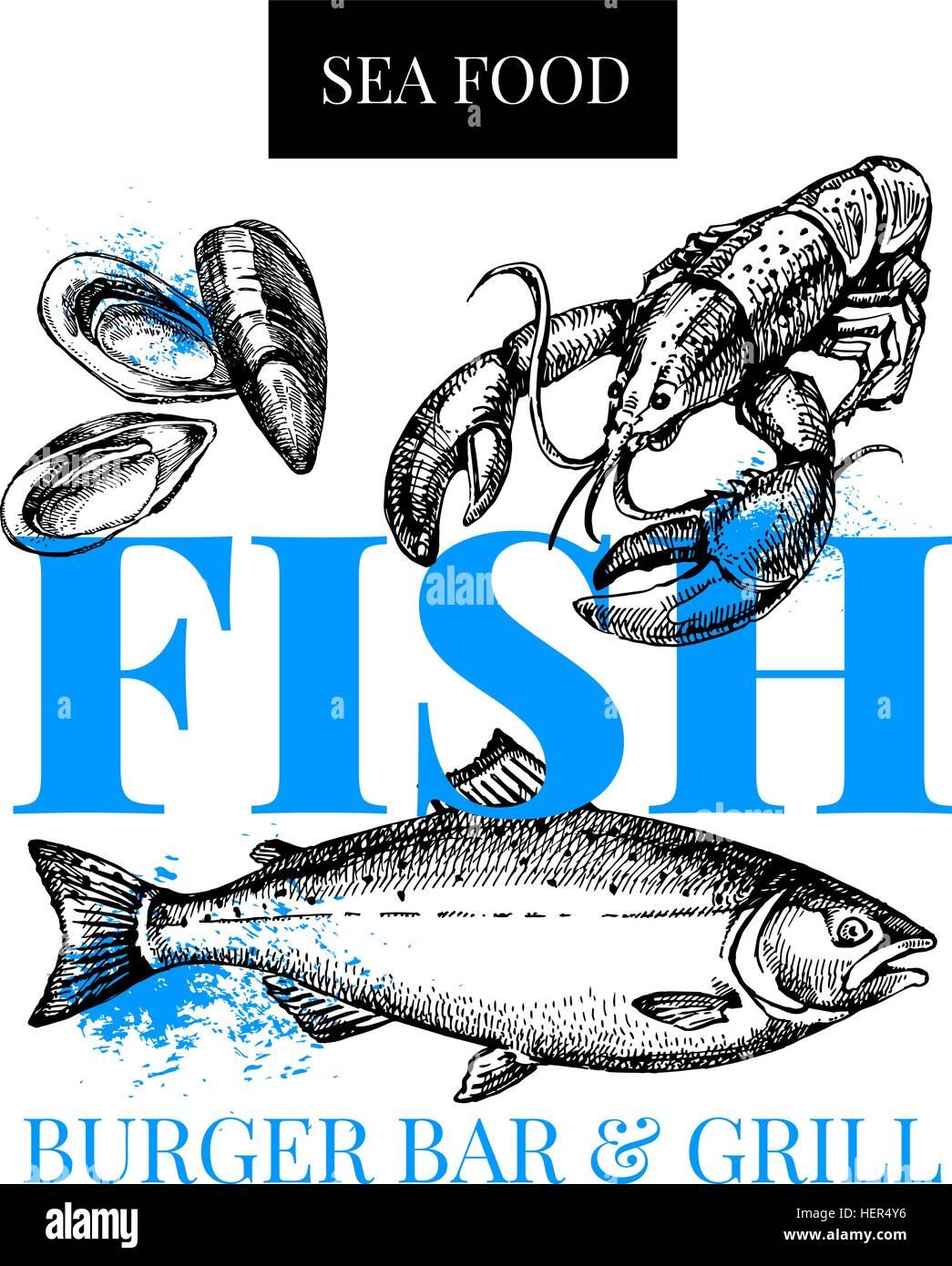 Restaurant Fresh Sea Food Menu Fish Market Poster Hand Drawn Sketch Stock Vector Image Art Alamy
