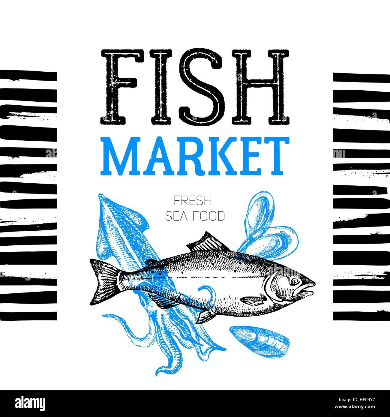 Restaurant Fresh Sea Food Menu Fish Market Pakage And Poster Hand Drawn Sketch Vector Illustration