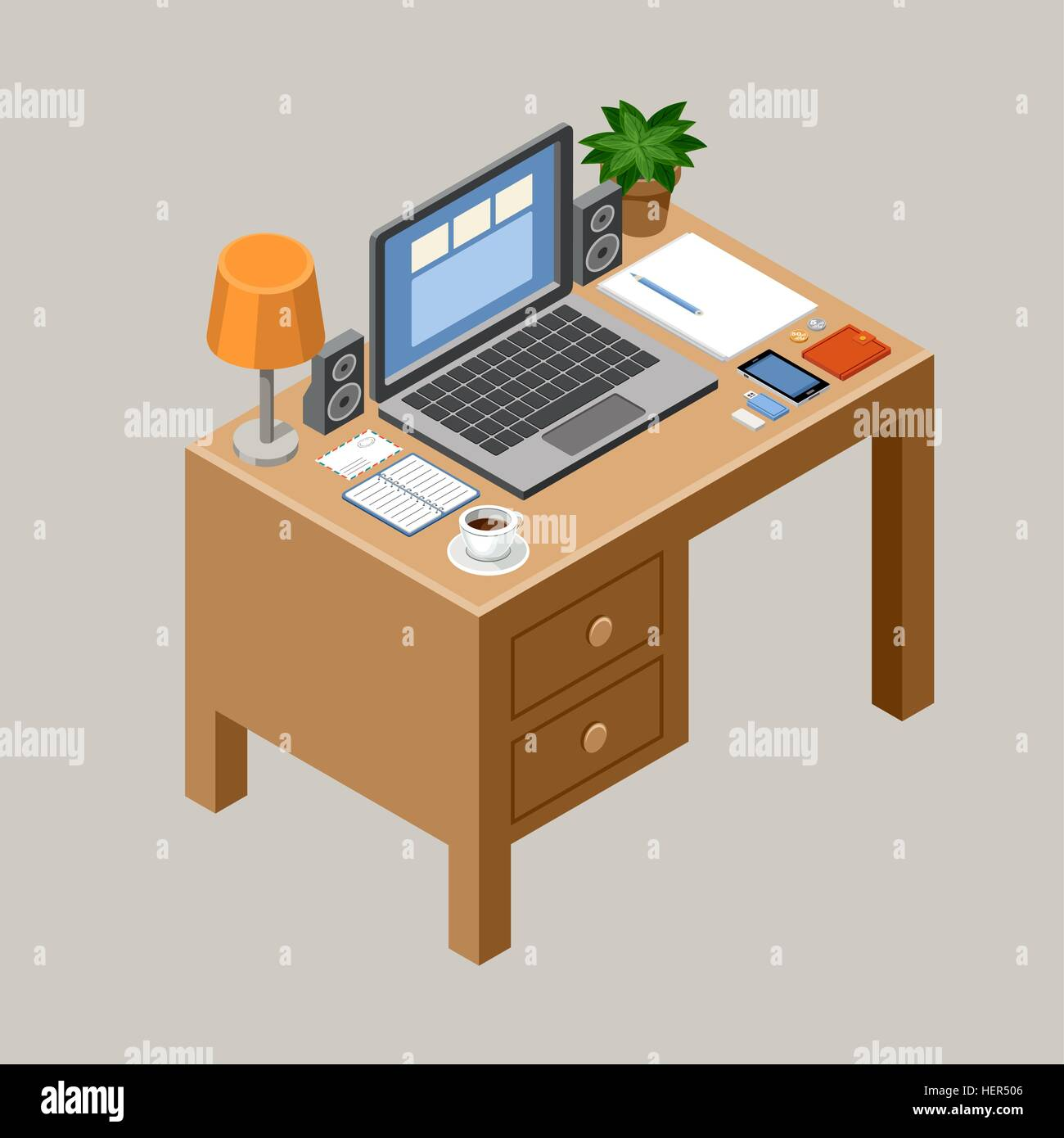 flat isometric vector workspace desk office laptop smartphone lamp coffee office furniture collection98 vector