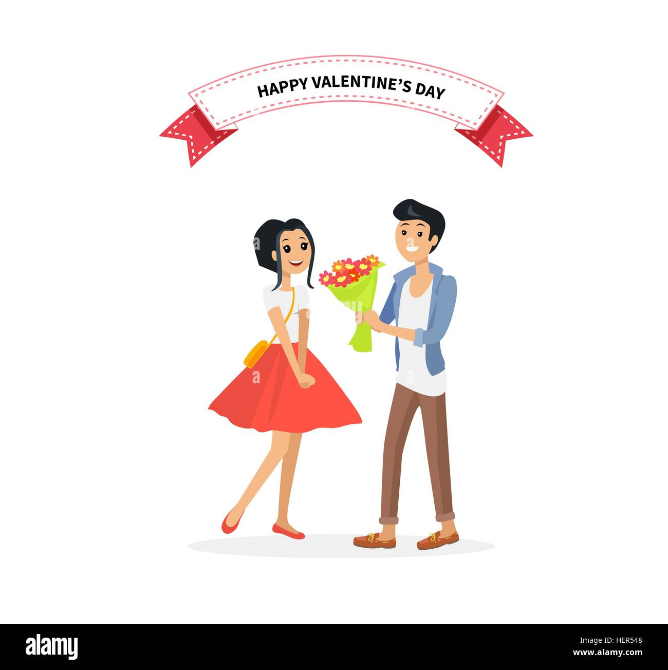Happy Valentine Day Couple On Date Man Give Flower Woman Valentine