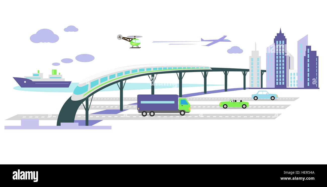 Concept of development of transport infrastructure icon flat. Car future growing, vehicle popularity, traffic automobile, Stock Vector