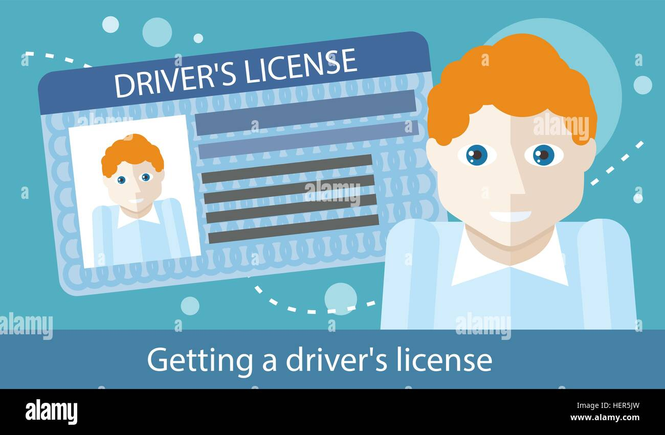 Cartoons Man With Driver License Modern Car And Road Identification Card