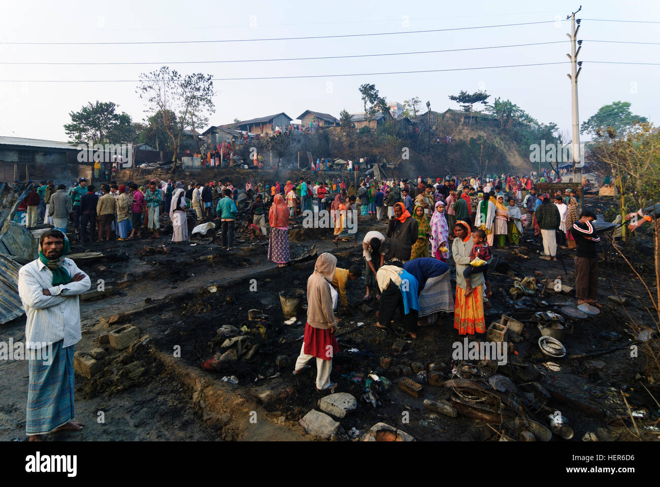 Chittagong: burned down slum, because of carelessness in cooking, Chittagong Division, Bangladesh - Stock Image