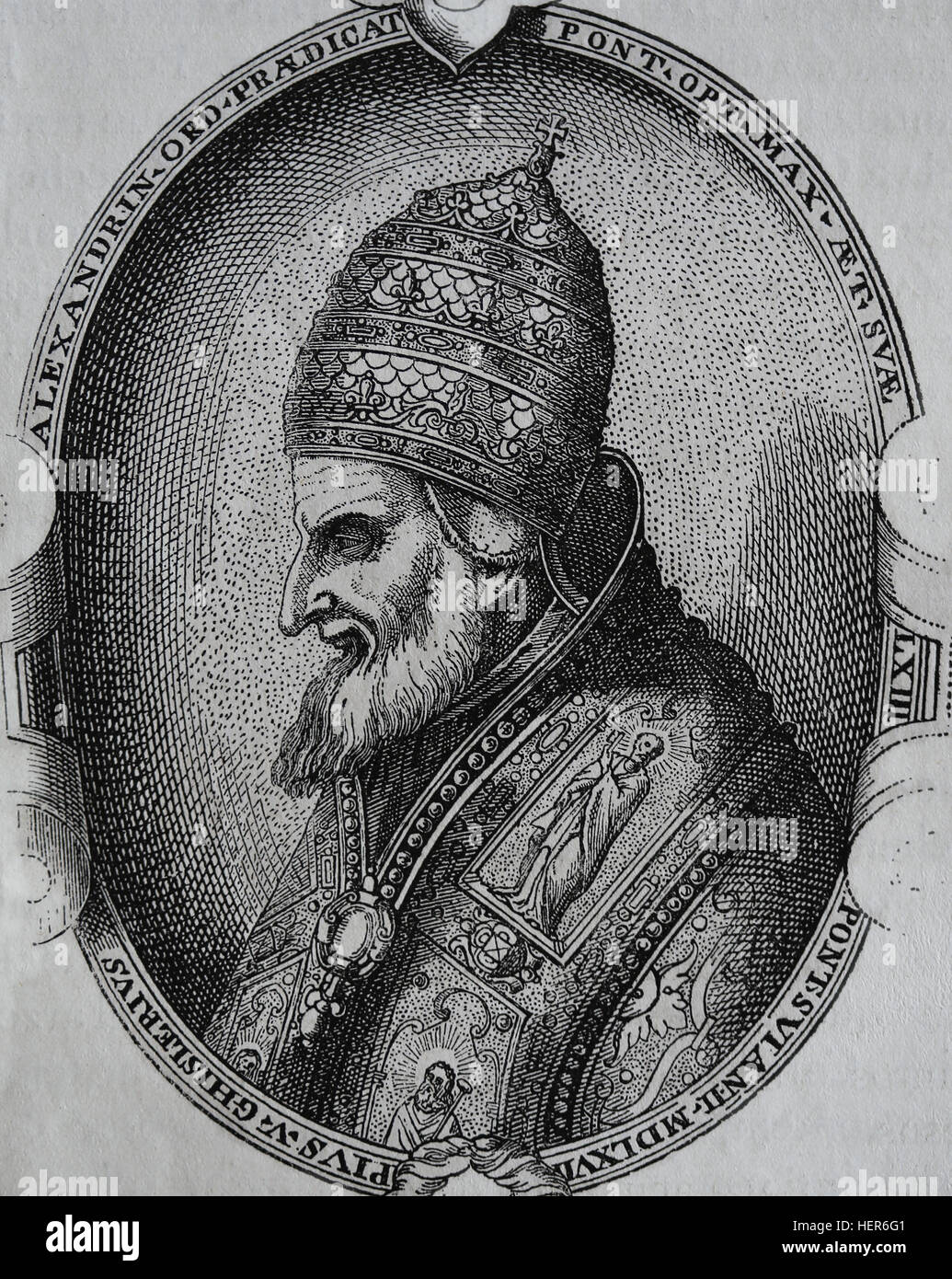 Pope Saint Pius V (1504-1572). Pope from 1566-1572. Portrait. Engraving, 1884. Stock Photo