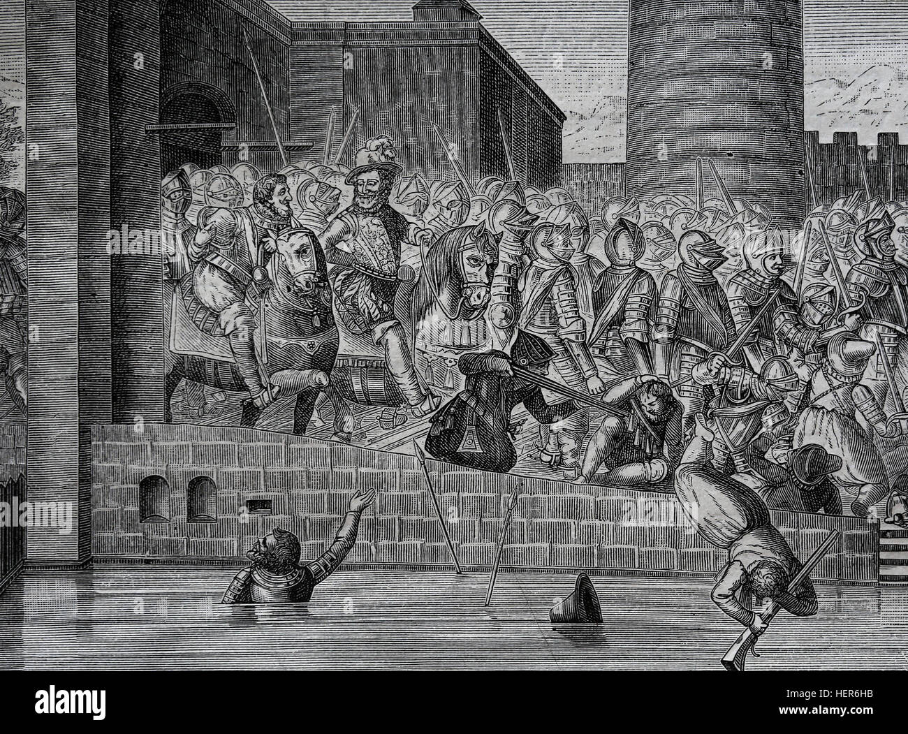 Henry IV of France (1553-1610). Entrance of Henry Iv in Paris, 22 March 1594, with 1500 cuirassiers. Engraving by - Stock Image