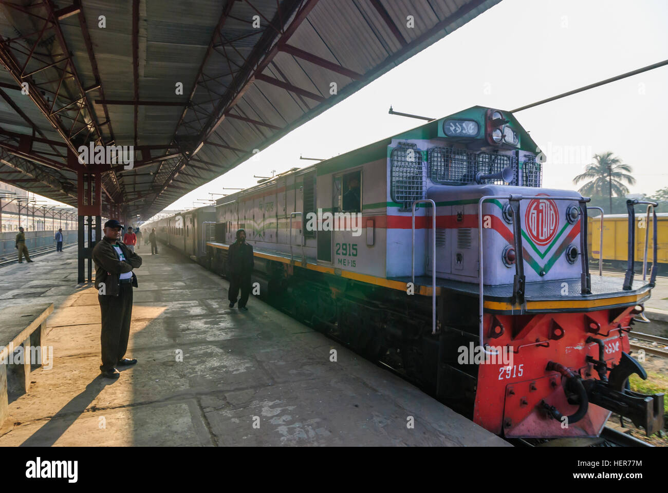 Chittagong: Intercity train in the station, Chittagong Division, Bangladesh - Stock Image