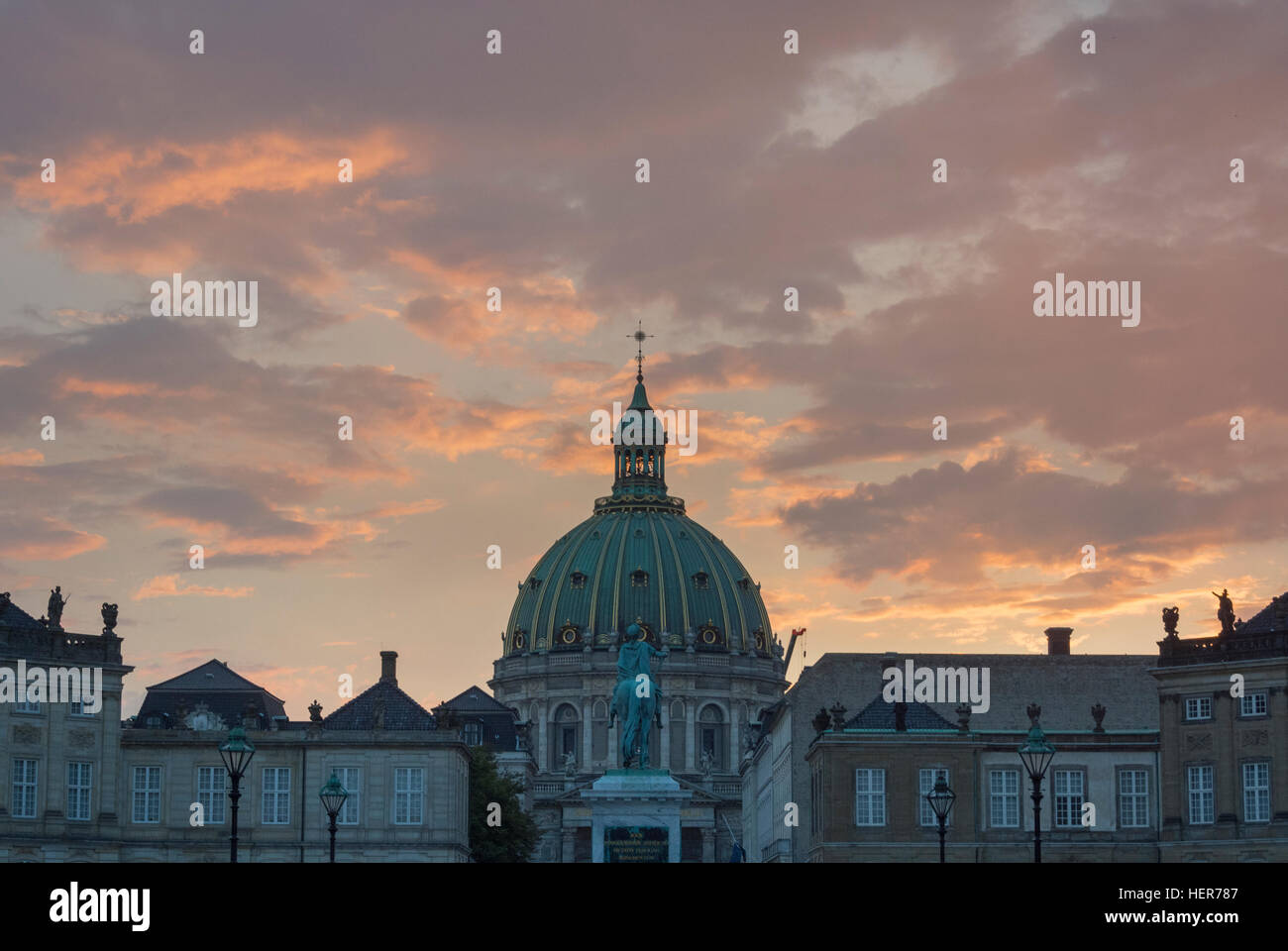 The Amalienborg at sunset in Copenhagen - Stock Image