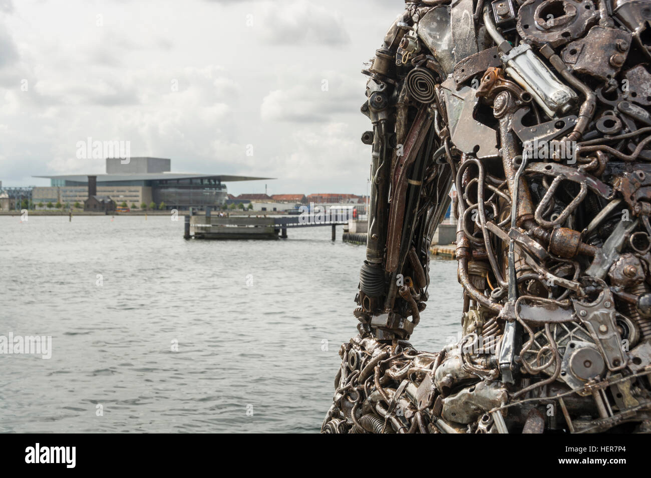 Zinkglobal, artwork made of car and engine parts that sits on the waterfront at Frederikshavn, Copenhagen. Stock Photo