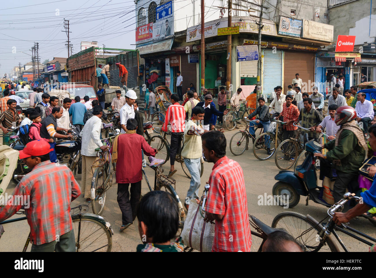 Agartala: Police are trying to arrange a traffic jam, Tripura, India - Stock Image
