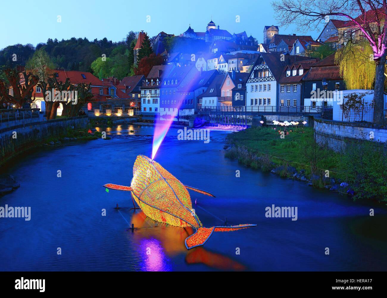 Lichtinstallation in der Hasslach, jährliches Festival Kronach leuchtet, Kronach, Oberfranken, Bayern, Deutschland - Stock Image
