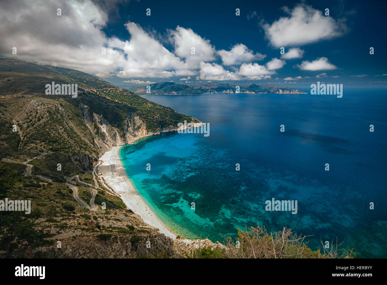 The famous Myrtos beach in Kefalonia - Stock Image