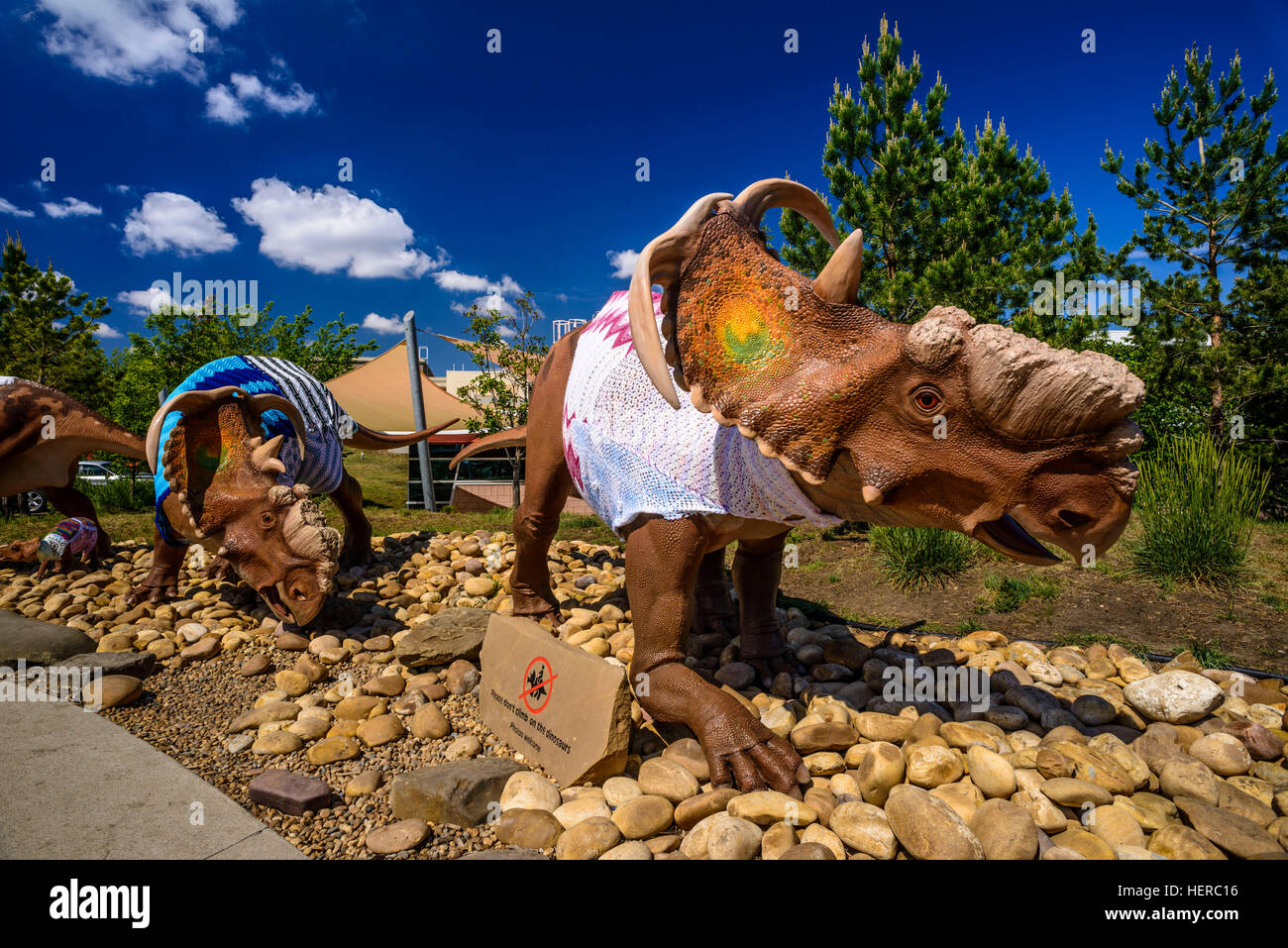 Kanada, Alberta, Canadian Badlands, Red Deer River Valley, Drumheller, Royal Tyrrell Museum of Palaeontology, Dinosaurierskulptur - Stock Image