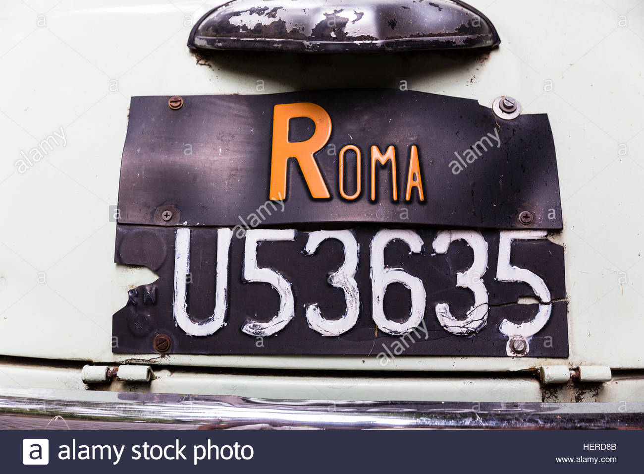 Archival,Bumper,Capital Cities,car,classic car,close-up,Colour Image,Fiat 500 L,Horizontal,No People,Photography,Registration - Stock Image