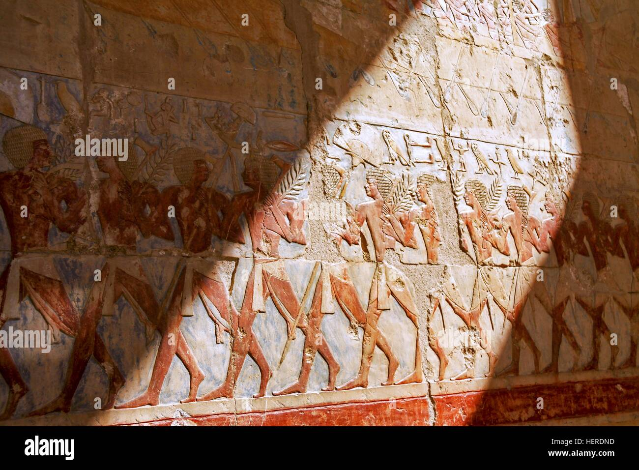 Ancient Egyptian Mural Paintings inside Queen Hatshepsut Temple in Valley of the Kings near Luxor, Egypt Stock Photo